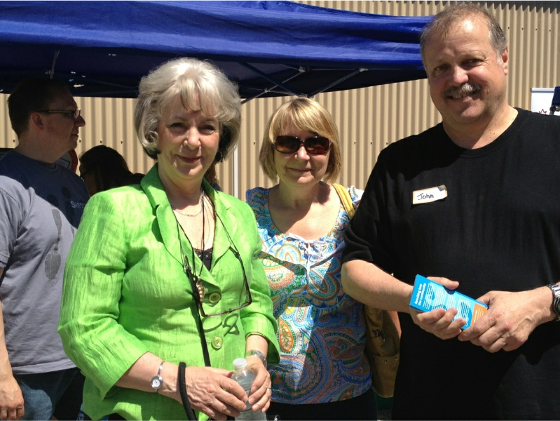 Sue Hammell (MLA-Surrey Green Timbers), Janice Meehan (CUPE-728) and John Radosevic, President of Protein for People